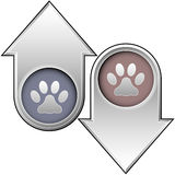 Pet paw print on up and down arrows. Up and down arrow buttons with pet paw print icons to indicate popularity, price, health, or quality Stock Image