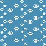 White cats paw on an blue background stock illustration