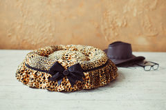 Pet place in interior. Leopard pet place with hat and eyeglasses royalty free stock image
