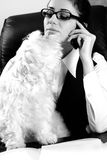 Pet playing with business woman Stock Photos
