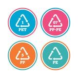 PET, PP-pe and PP. Polyethylene terephthalate. Stock Photos