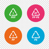 PET, PP-pe and PP. Polyethylene terephthalate. Stock Image