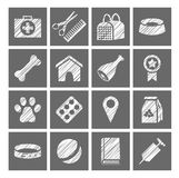Pet products, icons, vector, shading pencil, grey, white. The goods for Pets. Flat, square icons. Hatching a white pencil on the grey box. Imitation. Vector Royalty Free Stock Photography