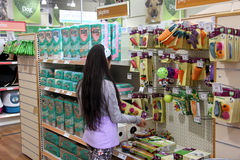 Pet Products in a pet supermarket. Stock Photos