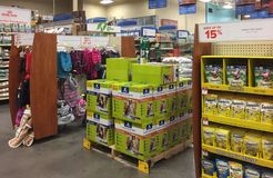 Pet products for sale at pet store Stock Photos