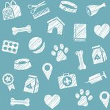 Pet products, seamless pattern, shading pencil, blue, vector. The goods for Pets. Veterinary care. Colored, flat background. Hatching a white pencil on a dark Stock Image