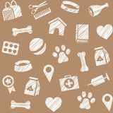 Pet products, seamless pattern, shading pencil, brown, vector. The goods for Pets. Veterinary care. Color, flat background. Hatching with a white pencil on a Stock Image