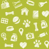Pet products, seamless pattern, shading pencil, green, vector. The goods for Pets. Veterinary care. Color, flat background. Hatching with a white pencil on a Stock Photos