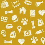 Pet products, seamless pattern, shading pencil, mustard, vector. The goods for Pets. Veterinary care. Color, flat background. Hatching with a white pencil on Stock Photo