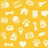 Pet products, seamless pattern, shading pencil, yellow, vector. The goods for Pets. Veterinary care. Colored, flat background. Hatching a white pencil on a Royalty Free Stock Image