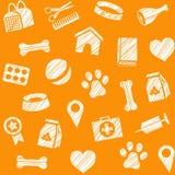 Pet produtos, teste padrão sem emenda, proteção, lápis, laranja, vetor ilustração royalty free