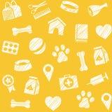 Pet produtos, teste padrão sem emenda, protegendo o lápis, amarelo, vetor ilustração royalty free