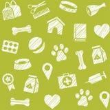 Pet produtos, teste padrão sem emenda, protegendo o lápis, verde, vetor ilustração royalty free