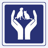 Pet protection. Vector illustration sign of a cat and dog between hands Stock Photography