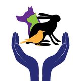 Pet protection sign vector. Hand in people encouragement help. Vector support Life. Health care Stock Images