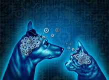 Pet Psychology. And understanding and communicating with pets as a dog and a cat with gears and cog wheels shaped as an animal brain as a medical metaphor and Stock Photo
