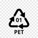 PET recycling code arrow icon for plastic polyester fiber, soft drink bottles. Vector recycle symbol logo  transparent background. PET recycling code arrow icon Royalty Free Stock Images