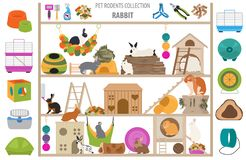 Pet rodents home accessories icon set flat style isolated on white. Healthcare collection. Create own infographic about guinea pig stock photography