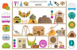 Pet rodents home accessories icon set flat style isolated on white. Healthcare collection. Create own infographic about guinea pig stock image