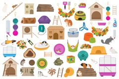 Pet rodents home accessories icon set flat style isolated on white. Healthcare collection. Create own infographic about guinea pig. Pet rodents home accessories stock illustration