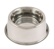 Pet's dog metal bowl isolated Royalty Free Stock Photography