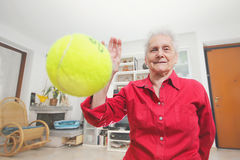 Pet's prospective. Grandmother paly wits a tennis ball. Royalty Free Stock Photography