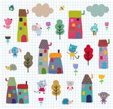 Pet's town pattern Stock Photography