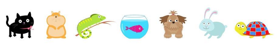 Pet set line. Cat, dog, fish aquarium, hamster, iguana, turtle, rabbit hare. Cute cartoon kawaii funny character. Flat design. White background. Vector stock illustration