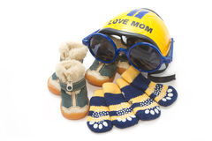Pet shoes,socks and helmet Royalty Free Stock Photos