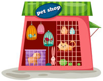 Pet shop. Illustration of isolated cartoon pet shop on white background Royalty Free Stock Photos