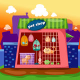 Pet shop. Illustration of cartoon landscape pet shop Royalty Free Stock Photography