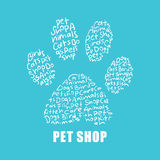 Pet shop animal paw logo. Pet shop sign symbol logo print or poster design animal paw Stock Image