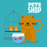 Pet shop with animals design, Vector illustration. Pet shop concept with icon design, vector illustration 10 eps graphic Royalty Free Stock Photos