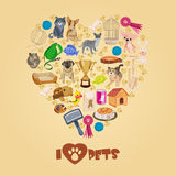 Pet shop background with pets. Vector illustration Royalty Free Stock Image