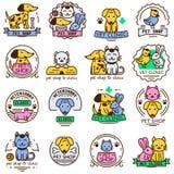 Pet shop badge vector set. Royalty Free Stock Photography