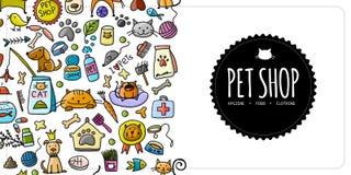 Pet shop banner, vertical seamless border for your design. Vector illustration Stock Photos