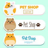 Pet shop banners with cute kawaii animal character: hamster, cat, dog. Vector collection of pet store advertisement. Royalty Free Stock Photos