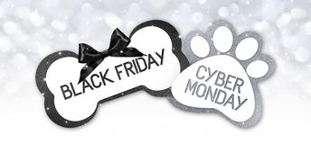 Pet shop black friday and cyberg monday sale text write on gift royalty free illustration