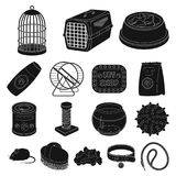 Pet shop black icons in set collection for design.The goods for animals vector symbol stock web illustration. Pet shop black icons in set collection for design Royalty Free Stock Images