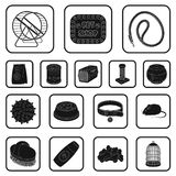 Pet shop black icons in set collection for design.The goods for animals vector symbol stock web illustration. Pet shop black icons in set collection for design Royalty Free Stock Photos