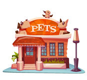 Pet shop building with bright banner. Vector Royalty Free Stock Image