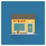 Pet shop building flat design vector illustration Royalty Free Stock Photo