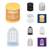 Pet shop cartoon,black,flat,monochrome,outline icons in set collection for design.The goods for animals vector symbol. Stock  illustration Stock Photography