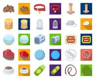 Pet shop cartoon,flat icons in set collection for design.The goods for animals vector symbol stock web illustration. Pet shop cartoon,flat icons in set stock illustration