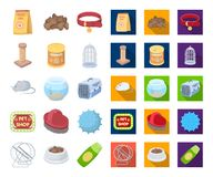 Pet shop cartoon,flat icons in set collection for design.The goods for animals vector symbol stock web illustration. Pet shop cartoon,flat icons in set royalty free illustration