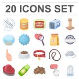 Pet shop cartoon icons in set collection for design.The goods for animals vector symbol stock web illustration. Pet shop cartoon icons in set collection for Royalty Free Stock Image
