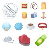 Pet shop cartoon icons in set collection for design.The goods for animals vector symbol stock web illustration. Pet shop cartoon icons in set collection for Royalty Free Stock Photos