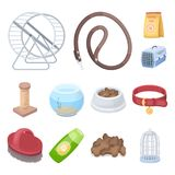 Pet shop cartoon icons in set collection for design.The goods for animals vector symbol stock web illustration. Pet shop cartoon icons in set collection for Stock Photos