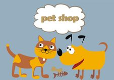 Pet shop, cat and dog, funny illustration. Cat and dog and text at frame. Funny illustration, vector icon. n Royalty Free Stock Image