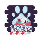 Pet shop cat with pillow. Vector illustration design Royalty Free Stock Photography